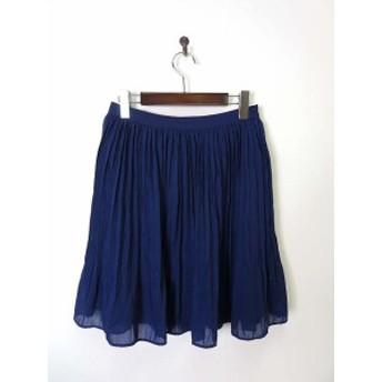 【中古】ナチュラルビューティーベーシック NATURAL BEAUTY BASIC スカート プリーツ フレア ボイル M ブルー