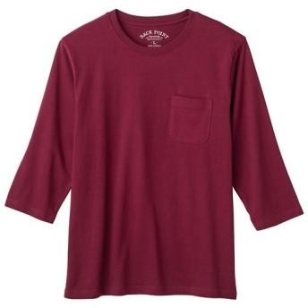 【レディース】 オーガニックコットン100%素材のクルーネックTシャツ(7分袖) - セシール ■カラー:バーガンディワイン ■サイズ:S,M,L,LL,3L,5L,7L