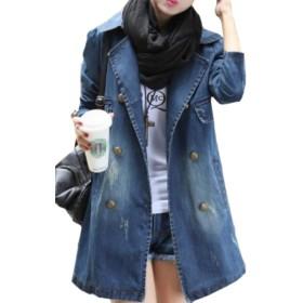chenshiba-JP 女性のプラスサイズ半ばロング長い袖デニムラペルボタンアウトアウトジャケット 1 XXS