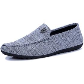 メンズビジネスシューズグレー格子紳士靴ストレートチップドレス短靴ウイングチップキャンバス靴ボートシューズ,EU43