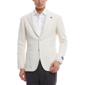 【30%OFF】アルパカ混 ノッチドラペル テーラードジャケット ホワイト 50