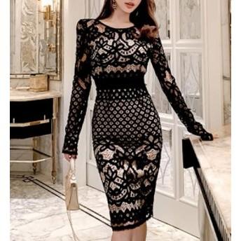 black lace ミモレ ドレス ワンピース 透かしレース フローラル タイト ラウンドネック 長袖 トレンド エレガント セクシー パーティー