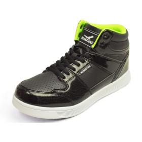 [ワイルドネイチャー] ハイカットスニーカー メンズ スニーカー ミドルカット ミッドカット カジュアルシューズ クロコ柄 ダンスシューズ コンフォートシューズ 靴 メンズシューズ Black 26cm