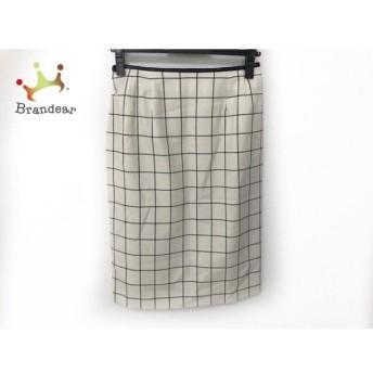 ギャラリービスコンティ スカート サイズ9 M レディース 美品 アイボリー×黒 チェック柄 新着 20190830