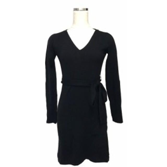 美品 INTERPLANET インタープラネット コットンニットワンピース (黒 ブラック ドレス) 121402 【中古】