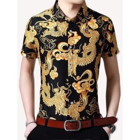 [eleitchtee]アロハシャツ メンズ 半袖 カジュアルシャツ 龍柄シャツ ワイシャツ 開襟シャツ サマーウエア 龍柄(2XL ブラック)
