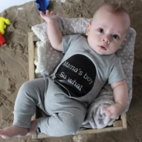 ベビー服 Mama's ロンパース グレー ブラック パジャマ 半袖 カジュアル カバーオール