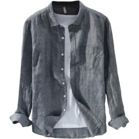 [Mirroryou(ミラーユー)] リネンシャツ メンズ 麻 シャツ 長袖 無地 コットン 折り襟 カジュアル M-3XL