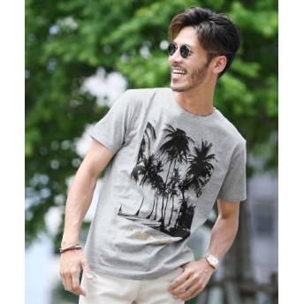 (JIGGYS SHOP/ジギーズショップ)パームツリープリントTシャツ/Tシャツ メンズ ティーシャツ 半袖 クルーネック/メンズ グレー