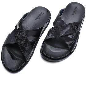 [XINXIKEJI] コンフォートサンダル メンズ ローマ風 おしゃれ 歩きやすい 快適 お兄系 内履き 外履き 高級感たっぷり 滑りにくい スリッパ アウトドア 厚底サンダル 26.0cm グレー