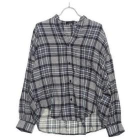 ルノンキュール アウトレット Lugnoncure outlet ネルチェックボリューム袖シャツ (ネイビー)
