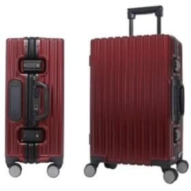 Alemart 指紋認証式TSAロック スーツケース 自動解錠 便利安全 アルミ合金 静音8輪 多階段調節 軽量キャリーケース 耐久 機内持込み可 大容量 旅行出張【日本語取扱説明書二年安心保証】 (M(62L), レッド)