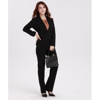 【大きい胸専用】洗えるすごく伸びる1ボタンテーラードパンツスーツ【レディーススーツ】 グラマーサイズ(スーツ),women's suits