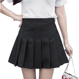 [もうほうきょう] プリーツスカート レディーススカート 夏 ハイウエストボンボンスカート 新型 ショートスカート チェック柄 女性スカート (ブラック, 3XL)