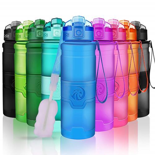 【美國代購】ZORRI運動水壺 700ml BPA免費防漏Tritan輕量瓶 彈出式開蓋