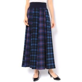 【アンドクチュール/And Couture】 ジョーゼットチェックロングスカート