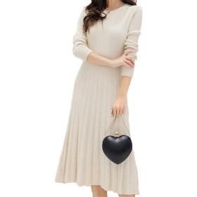 [美しいです]厚いニットドレス、女性の秋と冬、ミディアムとロングセクション、膝のフリル、ロングスカート、スリムでスリム (ワンサイズ, アプリコット)