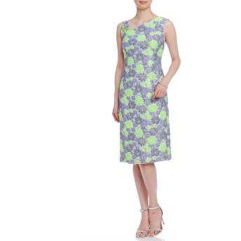 【70%OFF】フラワージャカード 異素材ストラップ ドレス グリーン 38