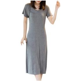 WE&energy 女性Vネックプラスサイズ薄型立体モード半袖ミッドドレス Dark Grey XL