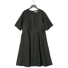【67%OFF】リネン クルーネック 半袖ドレス ブラック f