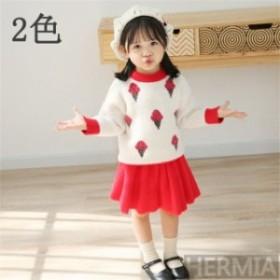 子供服 セットアップ 女の子 長袖 春秋 秋着 上下セット 韓国子供服 キッズ ジュニア 子供セーター ニットセーター スカート インナー 可