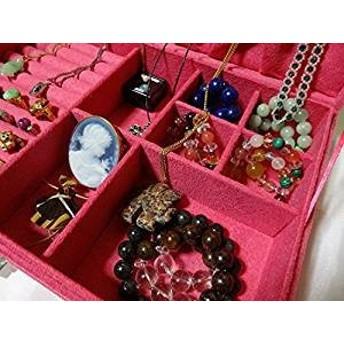 ベロア調 ジュエリーボックス アクセサリーボックス 宝石箱 (ピンク) ジュエリーケース アクセサリーケース 収納ケース