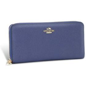 財布 レディース 長財布 メンズ ラウンドファスナー レザー 男女兼用 F52372 人気 大容量 (ブルー)