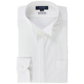 (TAKA-Q/タカキュー)綿100%80双 形態安定レギュラーフィット ピンタックウィングカラー長袖シャツ/メンズ ホワイト 送料無料