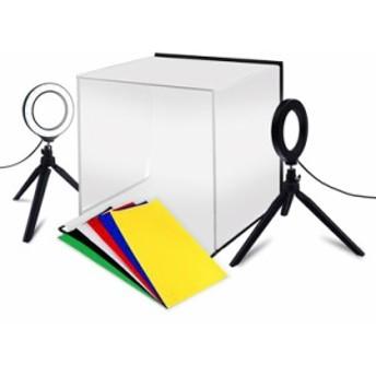 ポータブル撮影ボックス 折畳式 30cm 6色背景 USB給電LEDライト2台付属 スマホ撮影スタンド 商品写真 PSLED30CM
