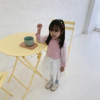 韓国子供服 tシャツ 女の子 新作 インナー コンビネーション チュール 着まわし 韓国風 結婚式 二次会 ダンス発表会 発表会 通学 通園 普