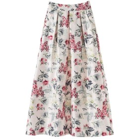 AngelSpace Womens Full Circle Floral Printed High Waist Vintage Retro Maxi Skirt White 2XL