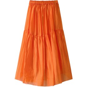 BLAMINK ブラミンク シルクギャザー ロングスカート オレンジ