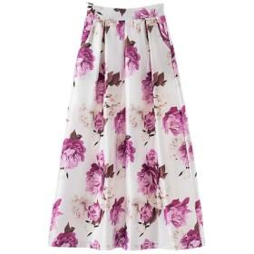 Nicellyer Womens High Waisted Printing Big Hem Vintage Retro Ankle Length Skirt Light Purple S