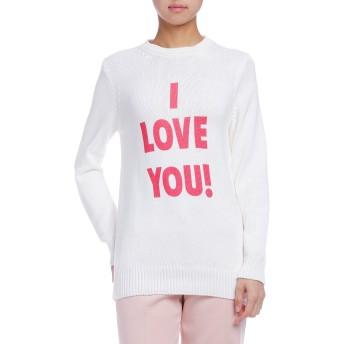 【73%OFF】I LOVE YOU! クルーネック ニットトップ ホワイトマルチ 40