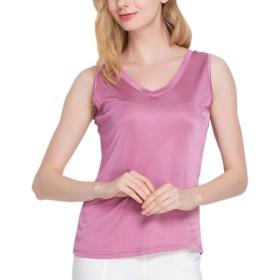 (MAYUDAMAシルク)シルク100% シルクニット Vネック ノースリーブ シャツ カットソー レディース 大きいサイズ 選べるサイズ・カラー (L, オーキッドピンク)