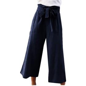 Qiangjinjiu 女性高ウエストパズズズパンツワイド脚ストレッチズボンパンツ Dark Blue L