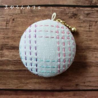 【NEW】刺し子マカロンポーチ『さしろん』まゆろんチェック薄グレー×ムラ染めピンク