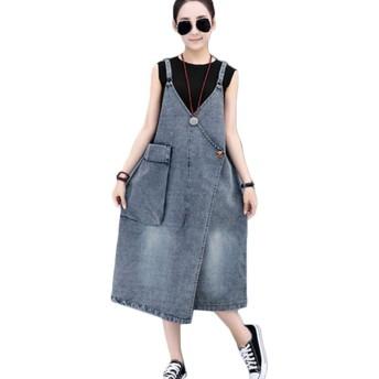 [CAIXINGYI] デニムワンピ デニム デニム素材 サロペット ポケット付き カジュアル レディース M ~ 2XL ジャンパースカート Vネック Aライン デニム ワンピース 体型カバー オーバーオール ゆったり (XXL, 写真色)