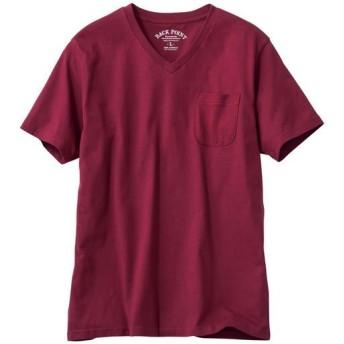 【レディース】 オーガニックコットン100%素材のVネックTシャツ(半袖) - セシール ■カラー:バーガンディワイン ■サイズ:5L,7L,S,M,L,LL,3L