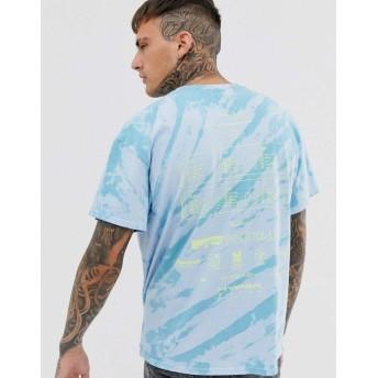 ブーフー 半袖Tシャツ メンズ boohooMAN oversized white label tie dye t-shirt in blue [並行輸入品]