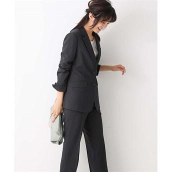 洗えるすごく伸びるロング丈テーラードジャケットパンツスーツ【レディーススーツ】 (大きいサイズレディース)スーツ,women's suits ,plus size