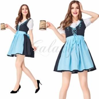 ビールガール ドイツ チロリアン 可愛い メイド服 ワンピース 民族衣装 ブルー M-XL ハロウィン セクシー コスプレ衣装(ps3740)
