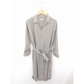【中古】未使用品 エフデ ef-de タグ付き ワンピース シャツ ロング ステンカラー ウエストリボン 長袖 9 灰 グレー