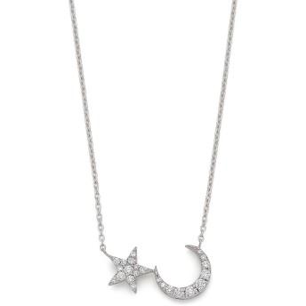 【60%OFF】K18WG ダイヤモンド スター&ムーン ネックレス ホワイトゴールド