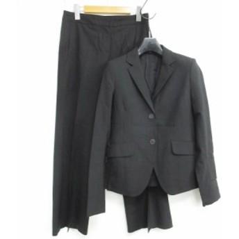 【中古】セオリー theory パンツ スーツ セットアップ 上下 黒 無地 上下サイズ違い 0/2 0819 VGP レディース