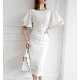floral lace ミモレ ドレス ワンピース フローラル レース フラワー フレアスリーブ トレンド 上品 フェミニン きれいめ オケージョン 結