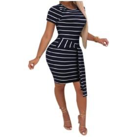 VITryst 女性ストライプナイトクラブボウノウボディーコンショートスリーブドレス AS1 L