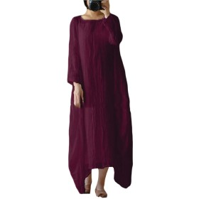 Tootess 女性の特大ロングスリーブクルーネックリネンルーズロングドレス Wine Red XXL