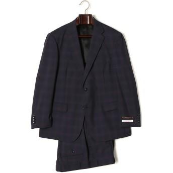 【60%OFF】モヘヤ混 オンブレーチェック ノッチドラペル スーツ ネイビー bb5