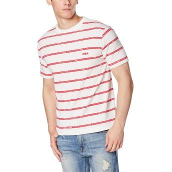 [エドウィン] Tシャツ EDWINロゴストライプ ボーダー プリント半袖Tシャツ メンズ ET5728-2 ホワイト×レッド 日本 M (日本サイズM相当)